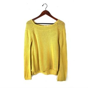 Anthropologie Moth mustard yellow sweater linen M
